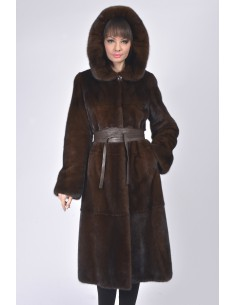 Long mahogany mink coat with hood and leather belt front side