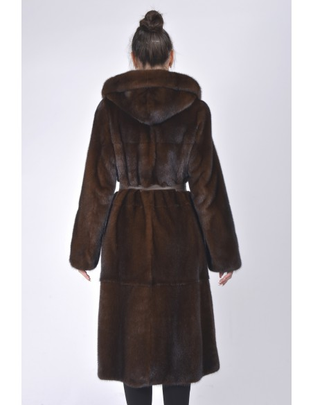 Long mahogany mink coat with hood and leather belt back side
