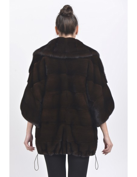 Short mahogany mink coat with 3/4 sleeves back side