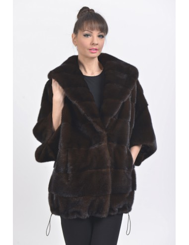 Short mahogany mink coat with 3/4 sleeves front side