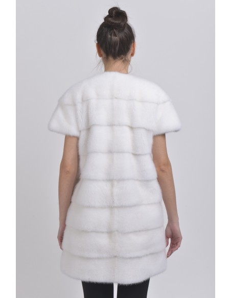Short white mink coat with short sleeves back side