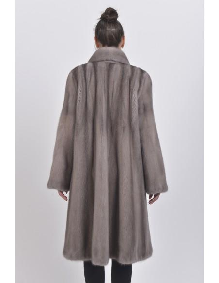 Long silver blue mink coat back side
