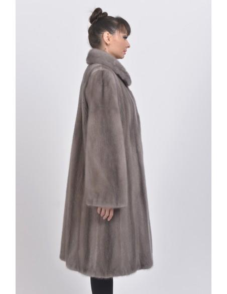 Long silver blue mink coat right side