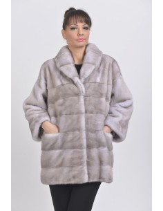 Short grey mink coat front side