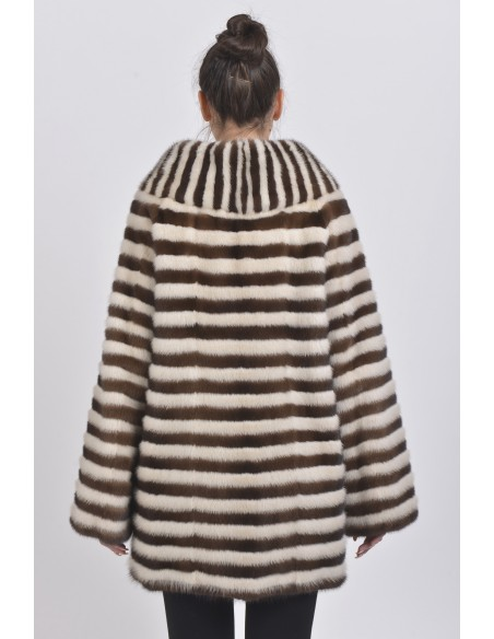 Short pearl white and brown mink coat back side