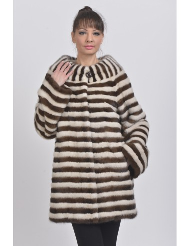 Short pearl white and brown mink coat front side
