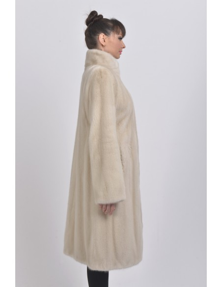 Pearl white mink coat with high fur collar right side