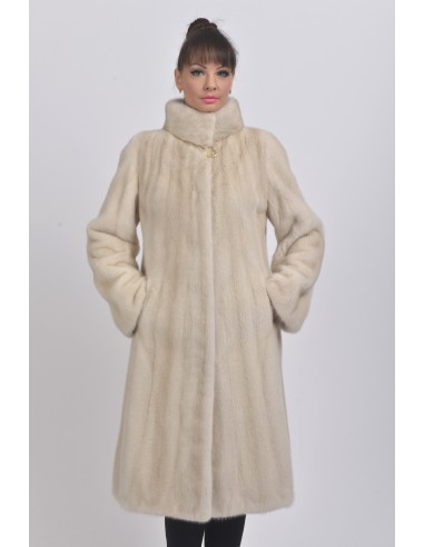 Pearl white mink coat with high fur collar front side