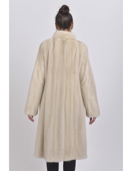 Pearl white mink coat with high fur collar back side