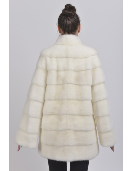 Short white mink coat back side