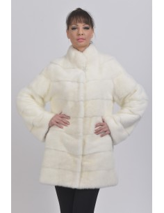 Short white mink coat front side