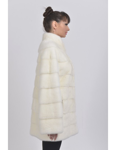 Short white mink coat right side