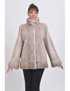 Short ice grey mink coat front side