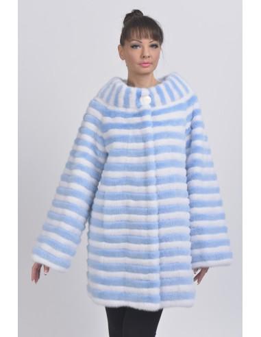 Short light blue and white mink coat front side