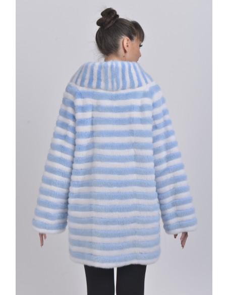 Short light blue and white mink coat back side