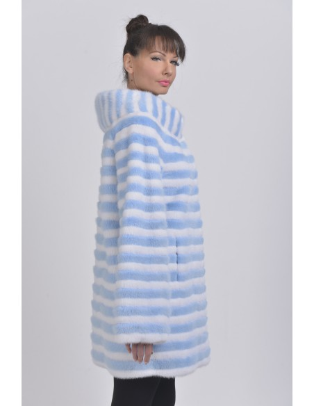 Short light blue and white mink coat right side
