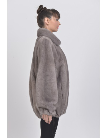 Short silver blue mink coat right side