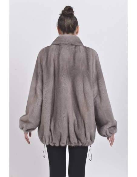 Short silver blue mink coat back side
