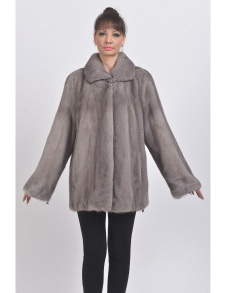 Short silver blue mink coat front side