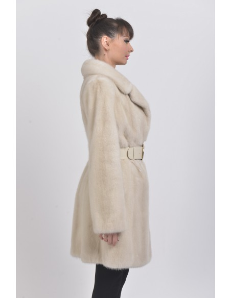 Pearl white mink coat with leather belt right side