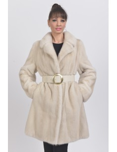 Pearl white mink coat with leather belt front side
