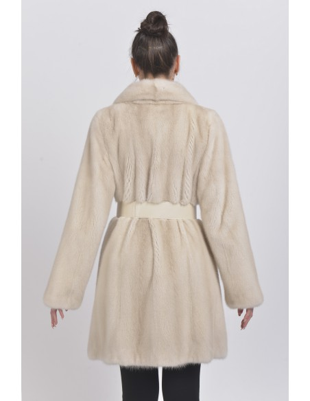 Pearl white mink coat with leather belt back side