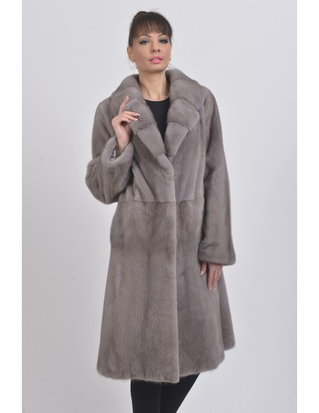 Silver blue mink coat with lapel fur collar front side