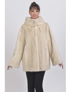 Short pearl white mink coat front side