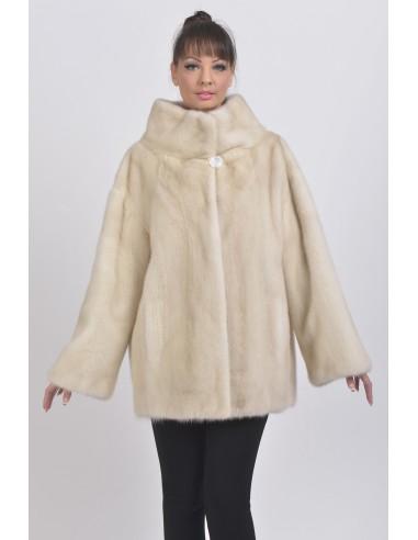 Short pearl white mink coat front side
