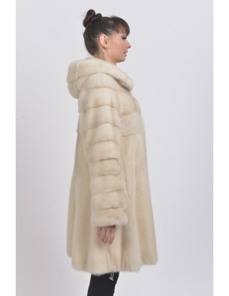 Pearl white mink coat with hood right side