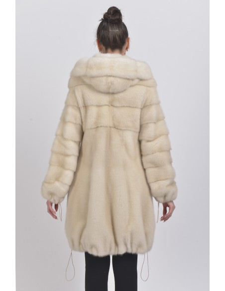 Pearl white mink coat with hood back side