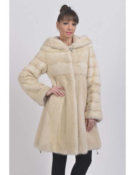 Pearl white mink coat with hood front side