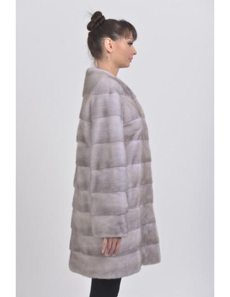 Short ice grey mink coat right side
