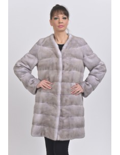 Short ice grey mink coat front side