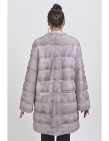 Short ice grey mink coat back side