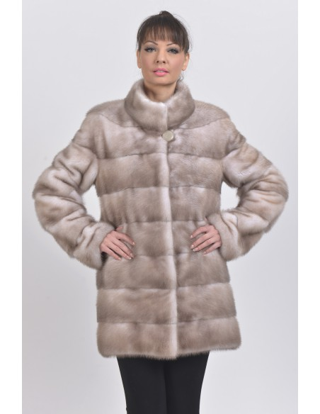 Ice grey mink coat front side