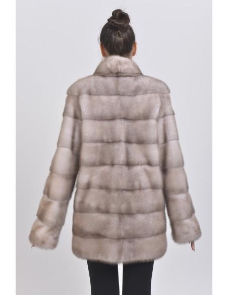 Ice grey mink coat back side
