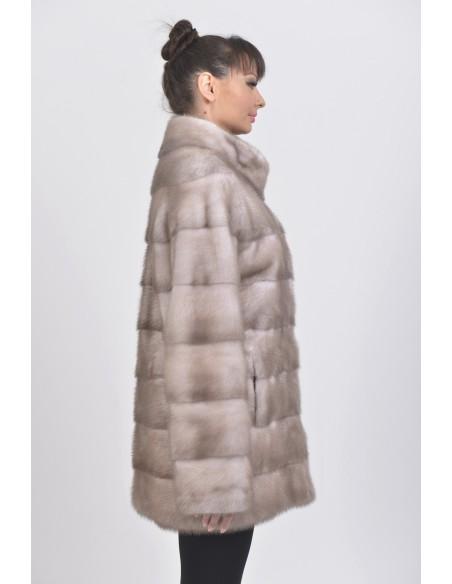 Ice grey mink coat right side