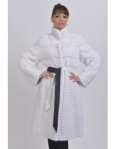 White mink coat with black and white belt front side