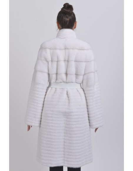 White mink coat with black and white belt back side