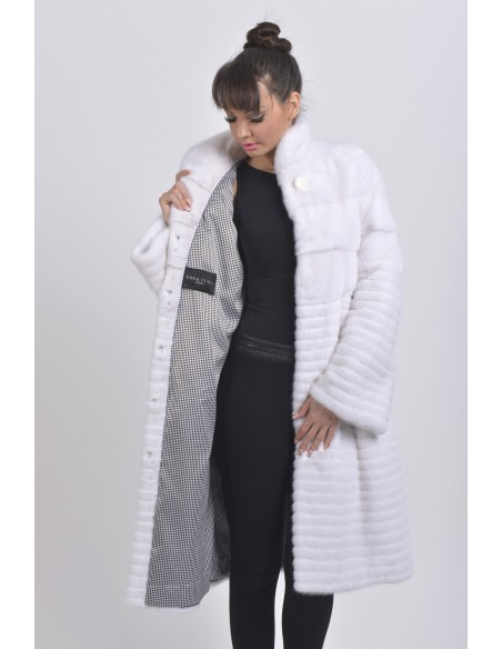 open white mink coat with black and white belt front side