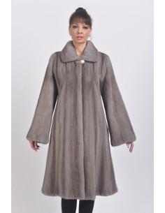 Silver blue mink coat front side