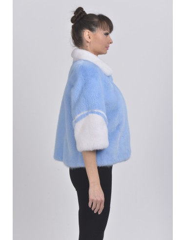 Light blue and white mink jacket with 3/4 sleeves right side