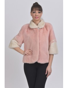 Off white and pink mink jacket with 3/4 sleeves front side