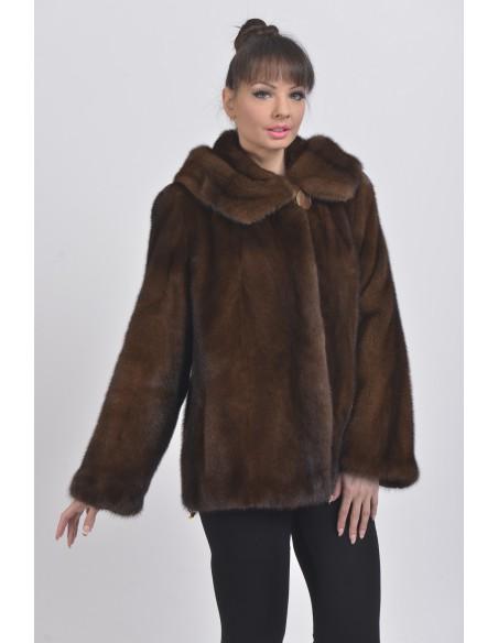 Brown mink fur jacket with hood front side