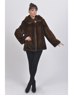 Brown mink fur jacket with hood front side