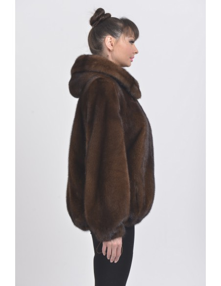 Brown mink fur jacket with hood right side