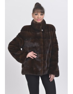Mahogany mink jacket front side