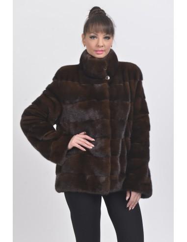 Mahogany mink jacket front side