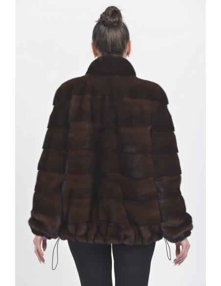 Mahogany mink jacket back side